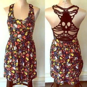 Flowers & skulls crochet back sundress